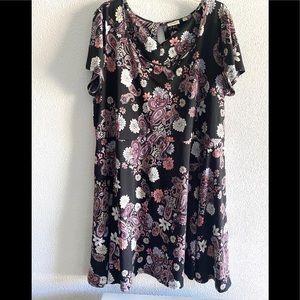 Avenue black & pink paisley print swing dress -22